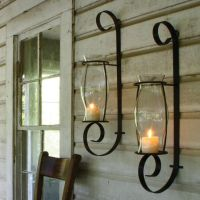 Flat Iron Wall Sconce w Glass Hurricane is finished in a ...