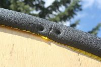 Copper pipe insulation covers the rough edge of the ...