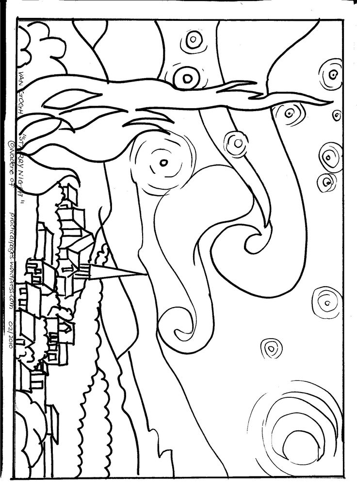 Van Gogh Starry Night Coloring Page Coloring Pages