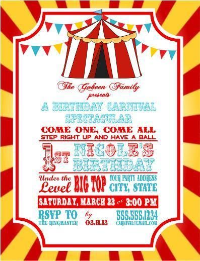 Circus Carnival Birthday Party Ticket Invitations Clown