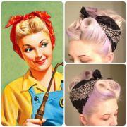 retro bandana hair victory rolls