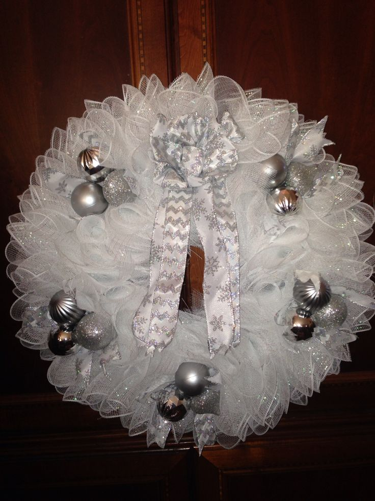 White and silver deco mesh wreath  Wreaths  Christmas