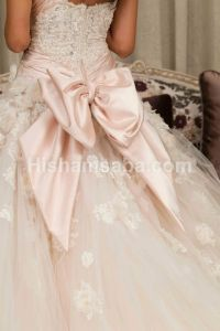 Bow wedding gown baxk.... A pale pale pink wedding dress ...