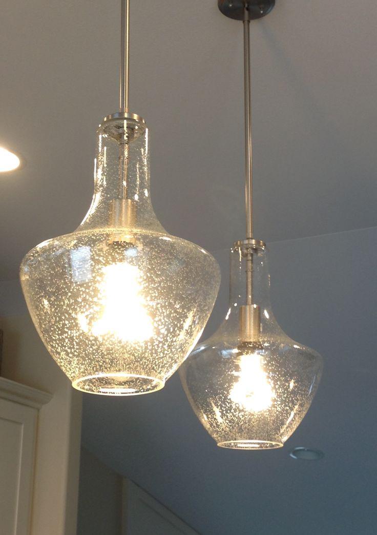 seeded glass pendant light