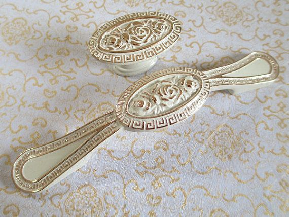 Dresser Pull Drawer Pulls Handles Knobs White Gold Flower
