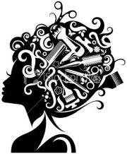 scissors and comb clip art lady's