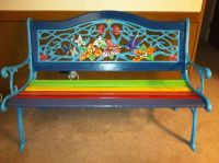 Hand painted Rainbow (cast iron) bench I refurbished for ...