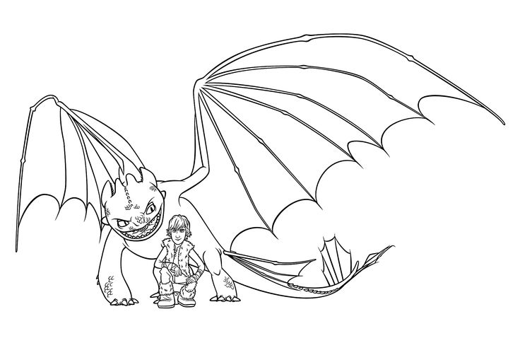 Hiccup and night fury coloring pages for kids, printable