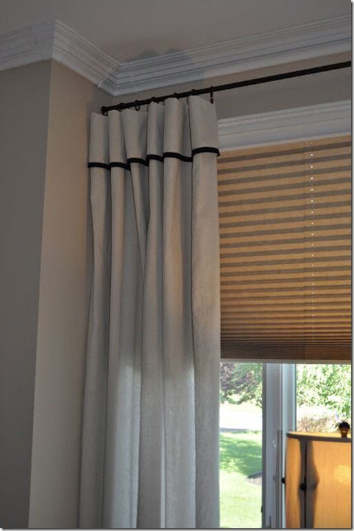 Dropcloth curtains with black trim  For the Home  Pinterest  Black trim and Drop cloth curtains