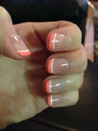 Coral & White tip Shellac Manicure | Shellac nail designs ...