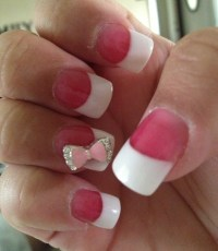 Cute and Classy French tip nails with 3D bow!!! | French ...