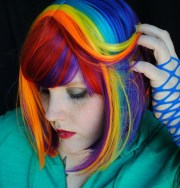 rainbow magic wig red purple