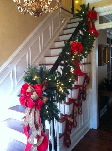 Top 36 Ideas About Stair Christmas Garland On Pinterest