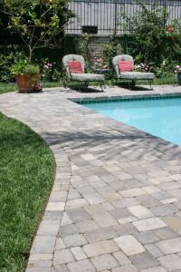 Pavers around a pool. More expensive than poured concrete ...