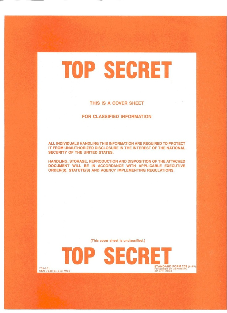 This Is A Cover Sheet For Classified Information Top
