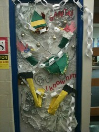 Buddy the Elf Decorates Gimbels Classroom Door