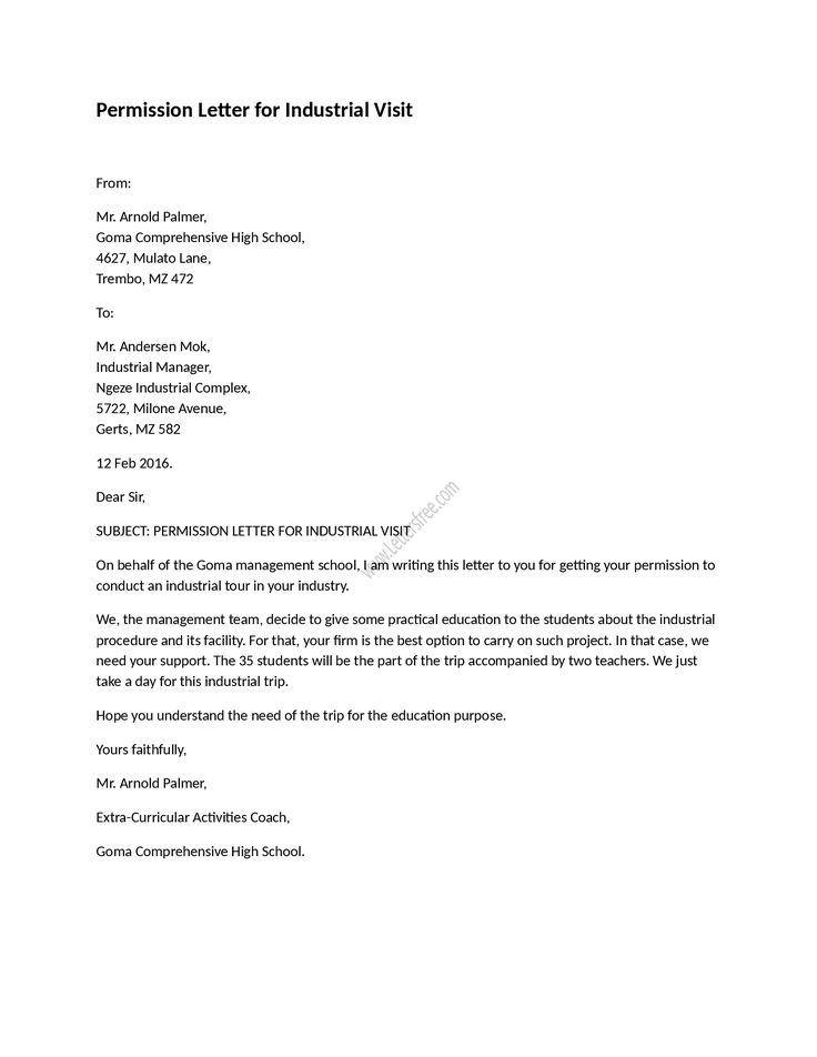 Example of permission letter for industrial visit as its