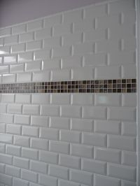 White subway tile with mosaic glass band accent | Kitchens ...