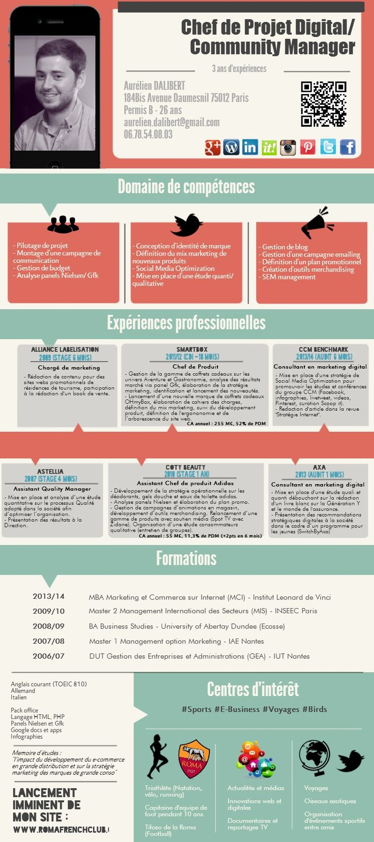 cv francais community manager pinterest