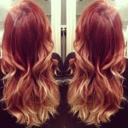 red rosegold ombre aveda color