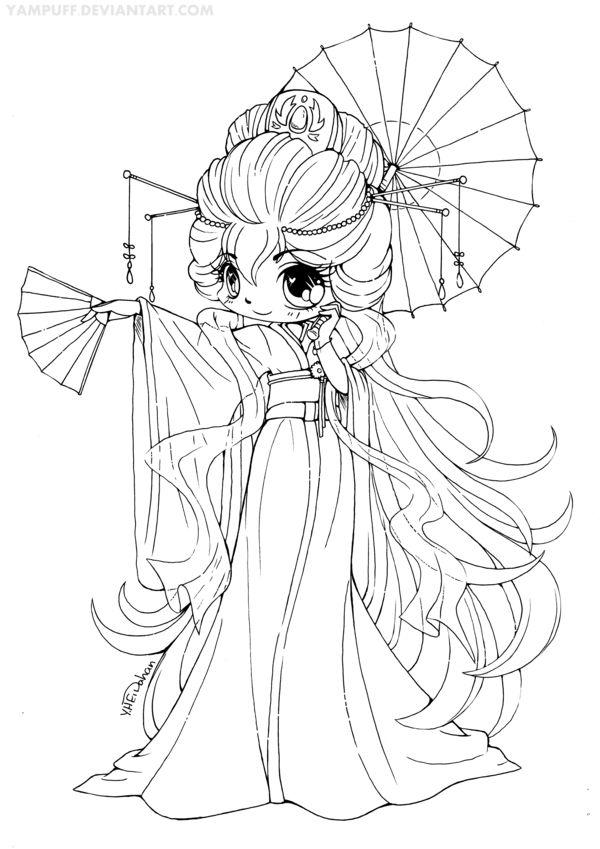 Permission to color. Magnificent Kimono Chibi Lineart