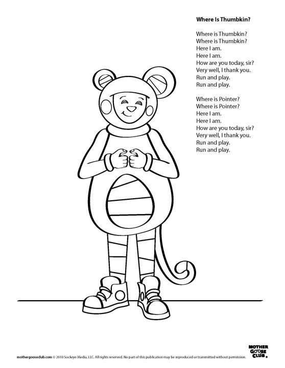 Coloring Pages, printable songs: Where is Thumbkin Live
