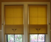Stenciled roller shades w/ Oil Rubbed Bronze ring pull by