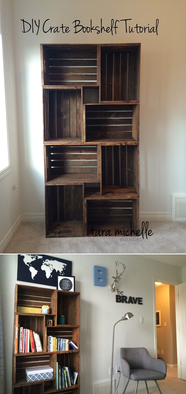 DIY Crate Bookshelf Tutorial – 16 Best DIY Furniture Projects Revealed – Update Your Home on a Budget!