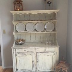 Log Home Living Room Decorating Ideas Grey Couch Idea Vintage Ethan Allen Hutch Painted With Annie Sloan
