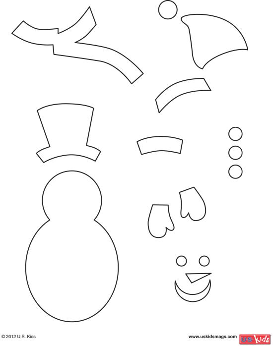 print out these snowman pattern pieces so you can build