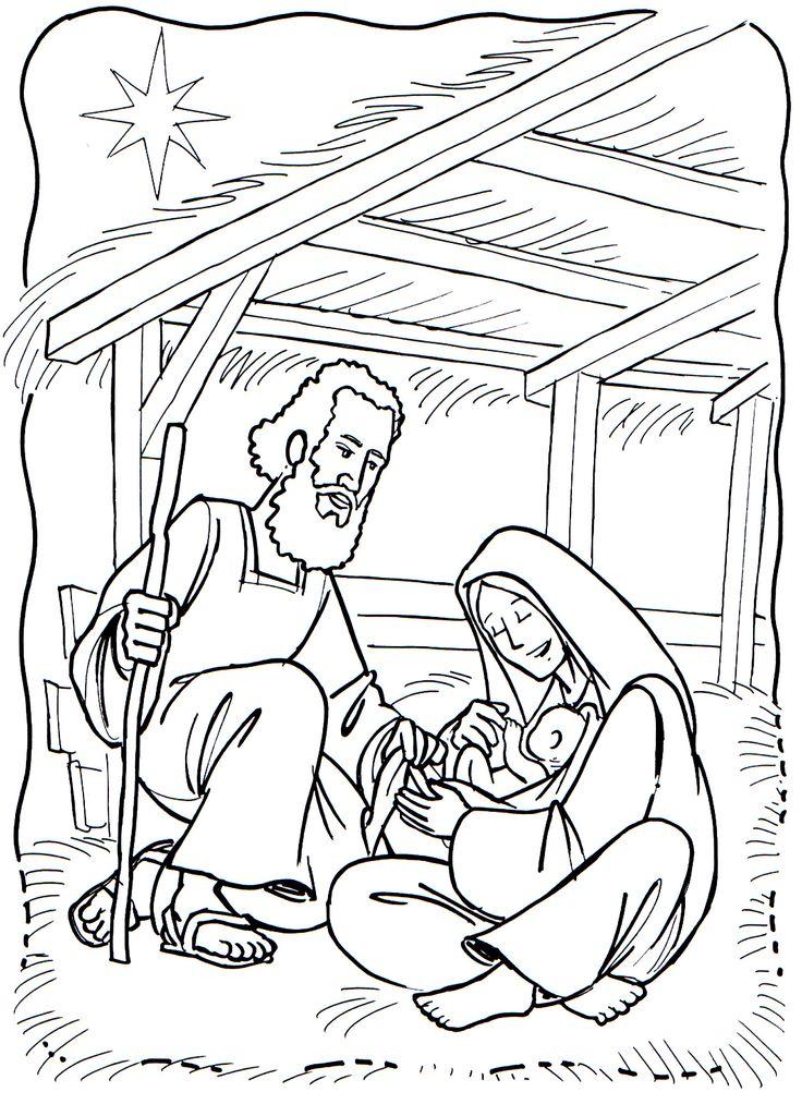 Jozef, Maria en Jezus, kleurplaat voor kleuters / colorear