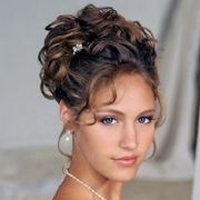 brunette curly prom updo hairstyle