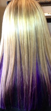 purple weaved blonde