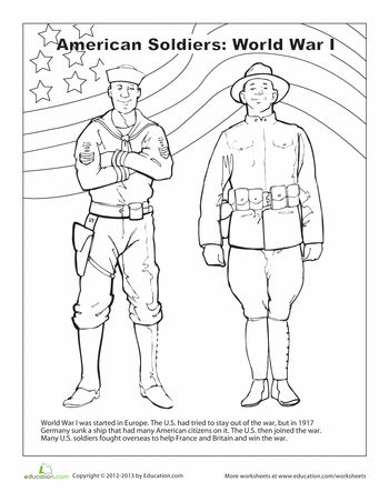 Coloring, Soldiers and World War I on Pinterest