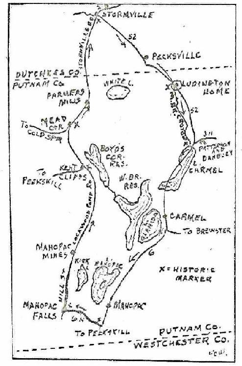 Map of Sybil Ludington's ride. She traveled on the narrow
