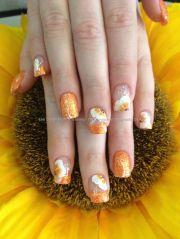 orange glitter tips with stoke