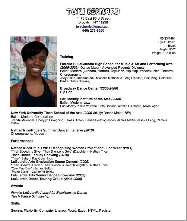 Dancer Resume Layout  httpwwwresumecareerinfodancer