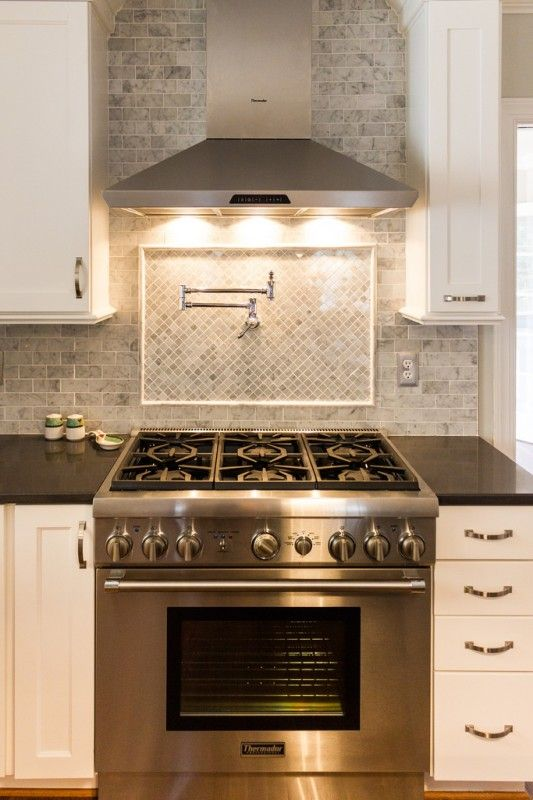 Gorgeous White Kitchen Renovation  Stove Pot filler and