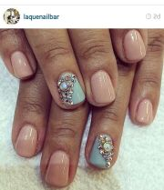 nude and light blue with rhinestones