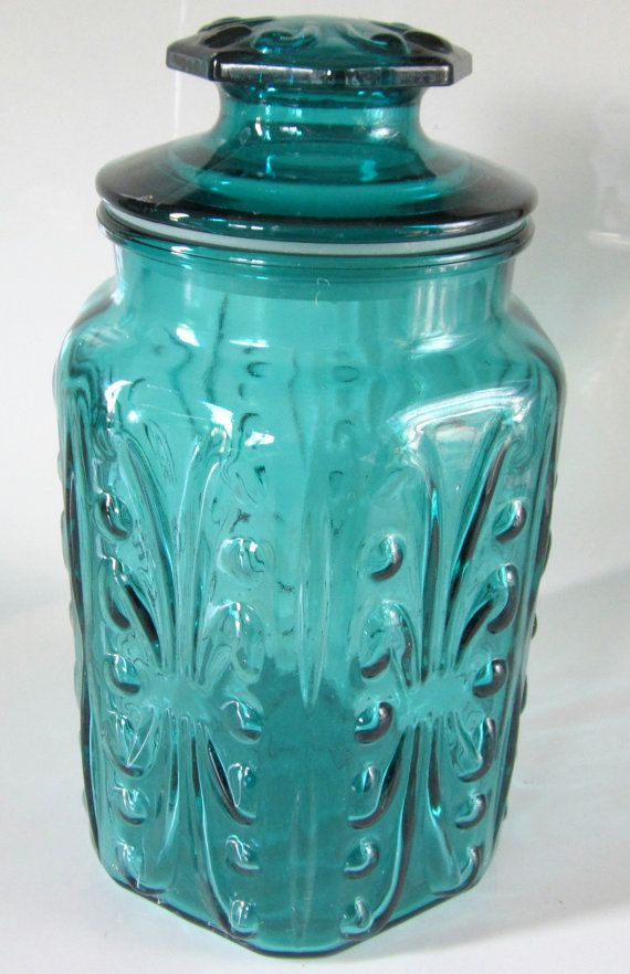 Blue Green Teal Glass Jar Embossed Canister Lidded Hexagon