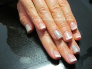 white french gel with 2 accents
