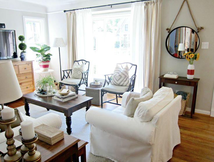 Benjamin Moore Cumulus Cloud Paint white slipcovered sofa