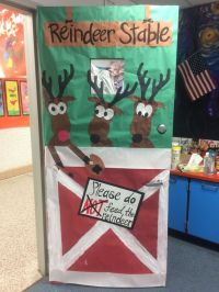 Holiday classroom door decoration - reindeer stable | Art ...