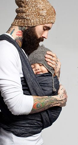 Bearded, tattoed, baby – wearing man… *swoon* I think my panties just hit the