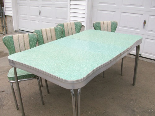1950's Retro Formica Chrome Kitchen Table And Chairs
