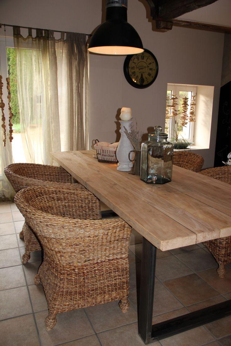 Table bois et mtal pour salle  manger style campagne chic atelier ou industriel