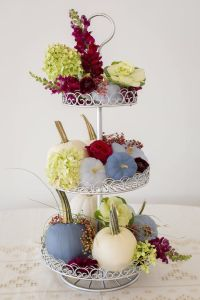 Dusty Blue and Cranberry Fall Decor