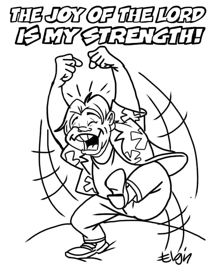 """The Joy of the LORD is My Strength"" Cartoon & Coloring"