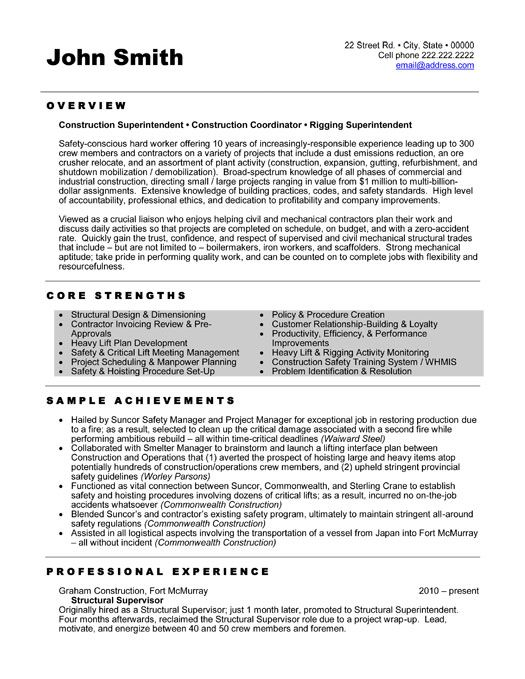 construction superintendent resume - Template