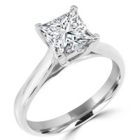 Square Diamond Rings in 14K White Gold 1 1/10 CT Solitaire ...